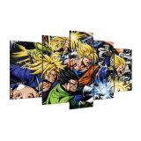 Het Frame van de Affiches van het Canvas van de Decoratie van het Huis van de Beelden van de Kunst van de muur 5 Stukken van de Bal die van de Draak het Afgedrukte Moderne Schilderen van Karakters bestrijdt Anime HD