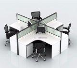 3 personne Station de travail de bureau en bois avec verre dépoli (SZ-WST615)