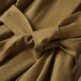 Robe de couche mince de fossé de taille de couleur chemise pure de mode de longue
