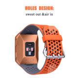 Novo Design Cores dupla cinta de relógio de silicone fino para Fitbit Ionic