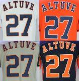 Хьюстон Астрос №27 Хосе Altuve оранжевый/белый/серый/ВМС Американской бейсбольной сшитое Джерси