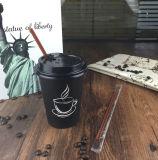 紙コップのふたが付いている単一の壁ペーパーコーヒーカップの熱い飲み物のコップをカスタム設計しなさい