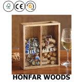 Corchos del vino de madera sólida y marco de rectángulo de sombra del almacenaje del tapón de la botella con la separación