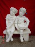 Bambino di pietra di marmo intagliato mano che intaglia per il giardino