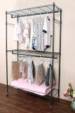 Свертывая одежда провода 3 ярусов Shelving сверхмощный домашний шкаф одежды ранга с колесами и бортовыми крюками