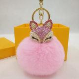 熱い販売の粋なウサギの毛皮のポンポンののどの毛皮の球のHairclip袋の魅力
