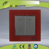 TUV CE CB Европейский стандарт сертифицированных закаленного стекла 2 токопроводящей дорожки 1 таким образом со светодиодной подсветкой белого цвета переключателя на стене