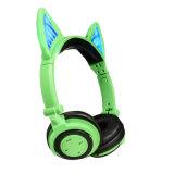 Écouteurs pliables rougeoyants de Retractabl Bluetooth de chat de tendance neuve de mode d'écouteur sans fil d'oreille