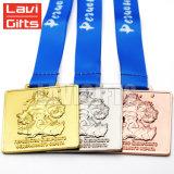 Premio su ordinazione poco costoso di sport del metallo di alta qualità che corre la medaglia del nastro
