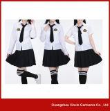 Chemises et jupes faites sur commande d'uniforme scolaire de coton d'OEM pour les filles d'élèves (U1)