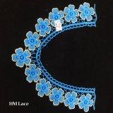 Applique одежды 36*26cm голубым флористическим Crocheted вышитый ожерельем, ворот Hme970 шнурка хомута золота