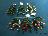 Fleur artificielle/en plastique/en soie Rosebud Bush (XF-FD13)