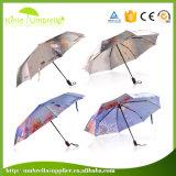 O guarda-chuva de anúncio automático o mais barato de 3 dobras com impressão