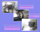 O CNC rodando e complexo de moagem torno horizontal com a plataforma de energia e Torre Hidráulica