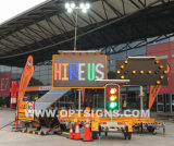 Optraffic OEM Road Highway Construction Project Solar Powered Vms Trailer card Mounted Speed Mobile Limit LED Variable Signs Message