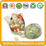 Contenitore su ordinazione di stagno di figura dell'uovo per l'imballaggio del regalo di festival di Pasqua