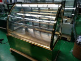 Goldener Edelstahl-Kuchen Dispkay freie Standplatz-Maschine mit Competetive Preis-Gebäck-Bildschirmanzeige-Schaukasten