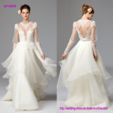 ein viktorianisches Blick-Hochzeits-Kleid mit Oberseite-Merkmale blosser PUNKT Filetarbeit und multi Schicht-Fußleiste