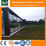 Modernos de aluminio pérgola con láminas de policarbonato techo y puerta corrediza