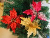 Silbernes Funkeln verziert - silberne Bäume, silberne Schneeflocken und silberne frohe Weihnacht-Zeichen - Weihnachtsdekoration-Haken-Weihnachtsmesser-Beutel