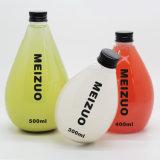 Frascos de vidro novos da bebida do projeto 250ml 500ml para o suco, frascos de vidro de leite com palha e tampa