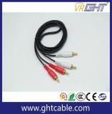 3m 2RCA para 2 conectores RCA macho para macho do cabo de áudio