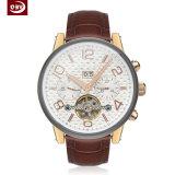 Relógio de homens mecânicos personalizados de aço inoxidável de cinta de couro