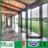 Алюминиевая дверь складчатости профиля при двойник застекленный Фабрикой