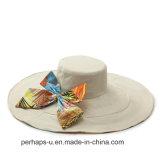 Chapéu de praia de algodão de algodão de dupla face com design Bowknot