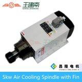 5.5kw 300Hz/600Hz 18000rpm Er32 quadratische Luft abgekühlte CNC-Spindel mit Flosse
