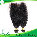 Estensione brasiliana dei capelli umani del Virgin di Aofa dei capelli ricci crespi di Remy