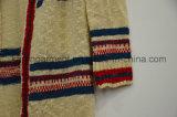 Damen öffnen vordere gestreifte gestrickte Wolljacke