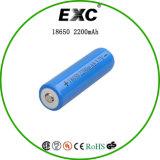 Bateria de íon de lítio de 3.7V 2200mAh, 18650 cilíndrico com bateria recarregável de íon de lítio e separador