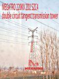 Megatro 220kv 2D2 Szc4二重回路のタンジェント伝達タワー