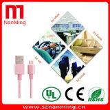 Câble tressé en nylon de chargeur de synchro de câble usb micro coloré avec la caisse en métal