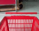 Double métier en métal supermarché / panier avec du matériel de nouveaux PP