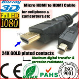 Cellpbone 비디오 촬영기 HDTV (SY094)를 위한 HDMI 케이블에 마이크로 HDMI