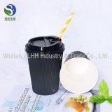 Copos de café pretos descartáveis personalizados do papel de parede da ondinha da cor