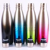 Il doppio mura la bottiglia di acqua metallica nella pendenza unica di colore