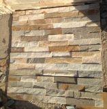 Pedra amarela popular da pilha da pedra da cultura de quartzo para o revestimento da parede