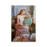 ソファーの油絵のキャンバスの芸術のSitting印象的な女性