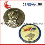 Pièce de monnaie blanc en laiton latérale en gros en métal 3D de la Chine double