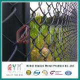 庭の塀/Hotは電流を通された庭のチェーン・リンクの塀のパネルを浸した