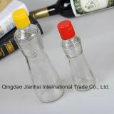 Bouteille en verre gravée en relief de configuration pour le stockage d'huile avec les couvercles scellés