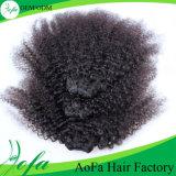 Уток человеческих волос девственницы курчавых волос Afro 100% Unprocessed бразильский