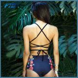 Bikini sexy del brasiliano del costume da bagno di Hight della stampa della vita delle donne floreali dello Swimwear
