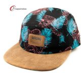 Chapéu de acampamento floral do remendo de couro de 5 painéis (07038)