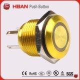 Ce TUV impermeable IP67 interruptor 16 mm coloridos cuerpo pulsador 12 voltios anillo LED encendido apagado interruptor de metal latón botón interruptor