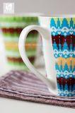 Taza del té de la porcelana de la impresión 11oz de la etiqueta del arco iris de la forma de V