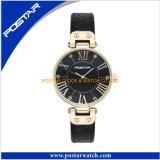 Montre de bande de cuir véritable de montre de quartz d'acier inoxydable de femmes